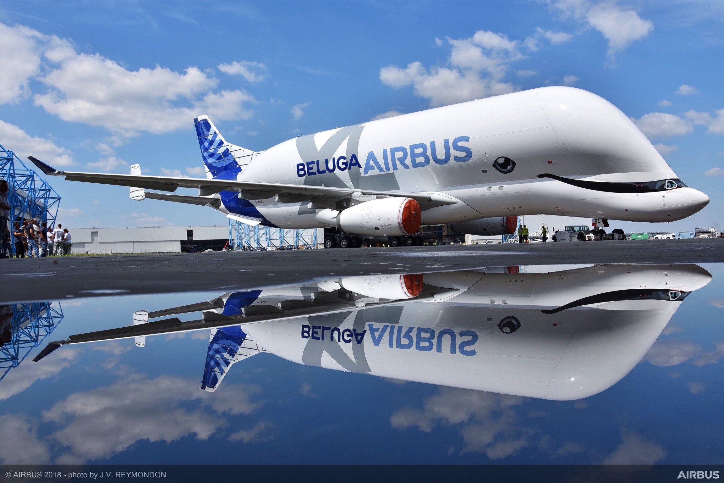 Det nye transportfly Beluga XL fra Airbus er rullet ud af malerhallen med et stort smil. Foto: Airbus