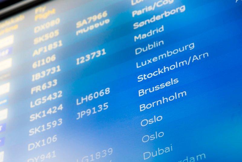 Afgangstavle i Københavns Lufthavn (Foto: Jasper Carlberg)