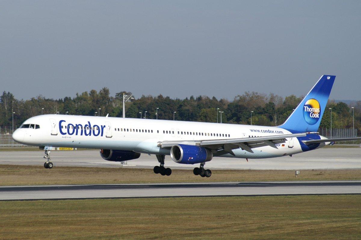 En Boeing 757-300 fra det tyske flyselskab Condor, der hører under Thomas Cook Group Airlines. Foto: Juergen Helle