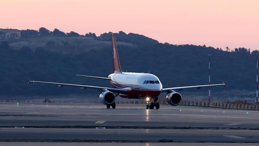Præisdent Erdogan lander  i Istanbul New Airport.