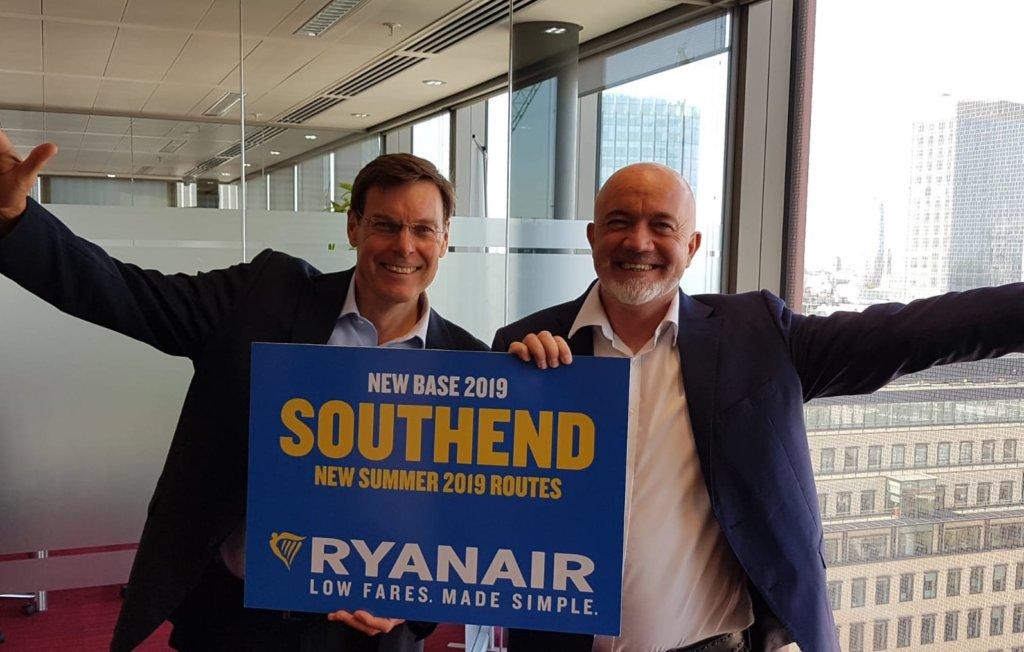 Ryanair åbner i april 2019 en ny base med 13 ruter fra London Southend Airport. Foto: Ryanair