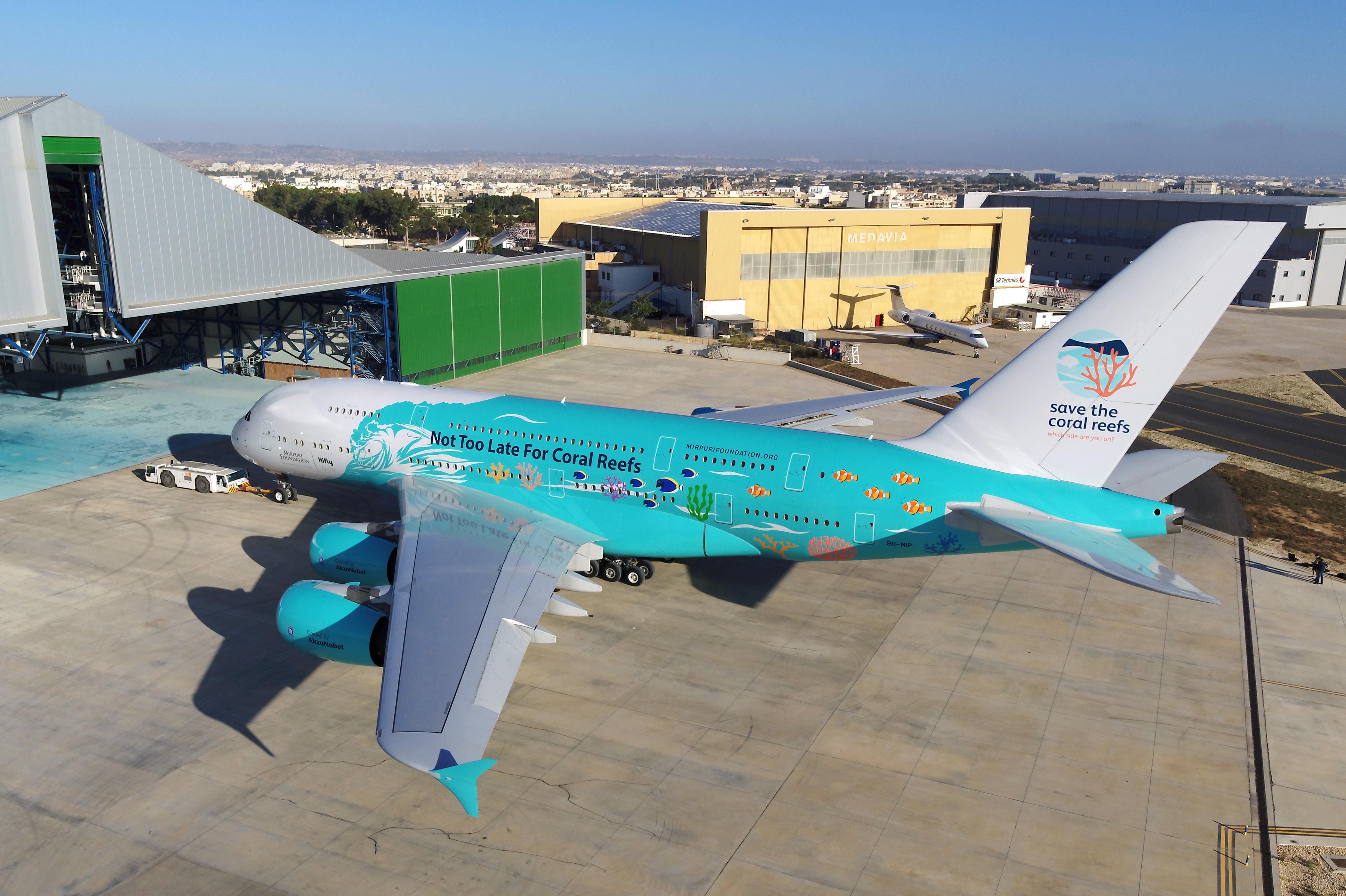 Den nye bemaling af A380'eren hos det portugisiske wetleasing-flyselskab HiFly. Foto: HiFly