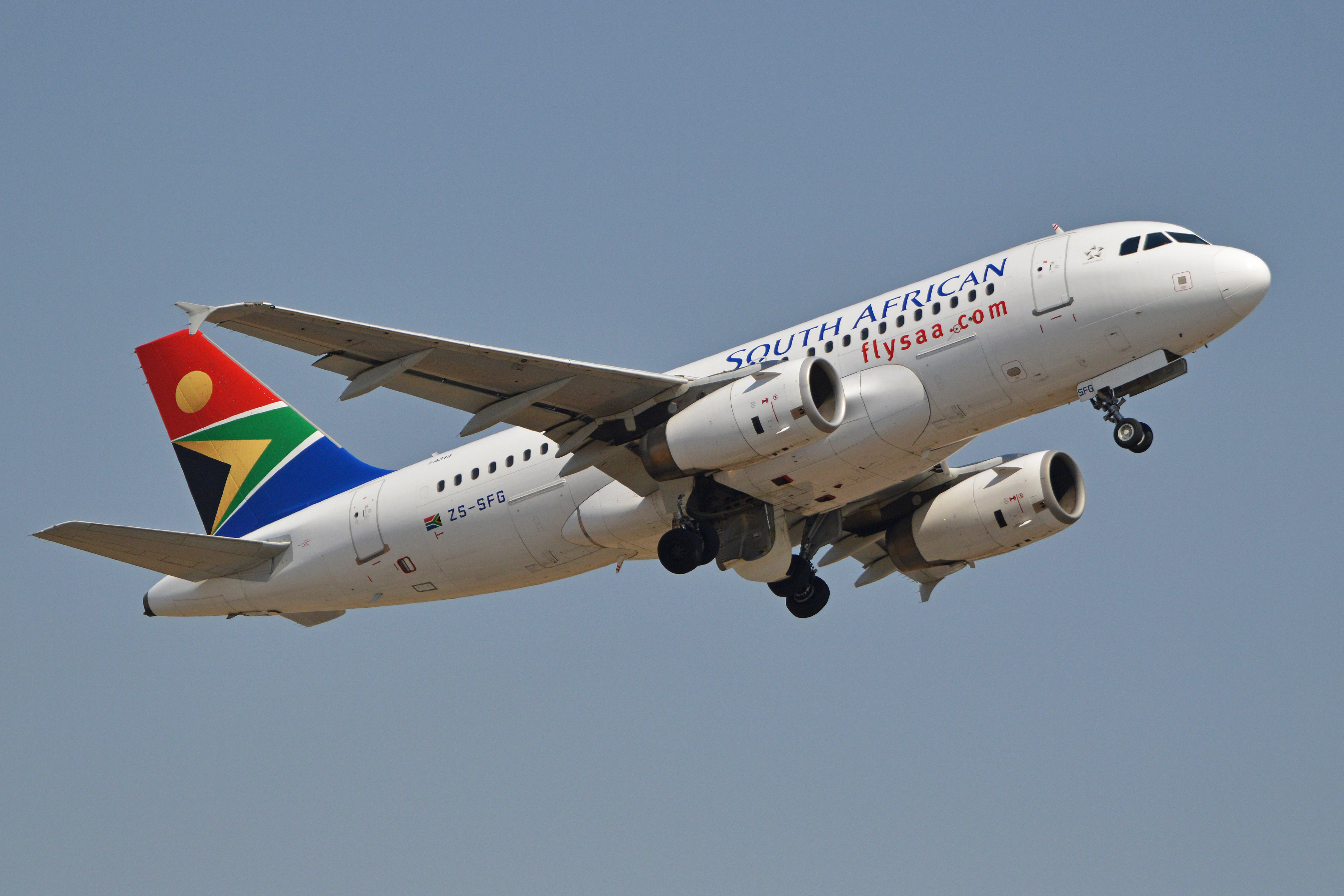 En Airbus A319 fra flyselskabet South African Airways. Foto: Alan Wilson