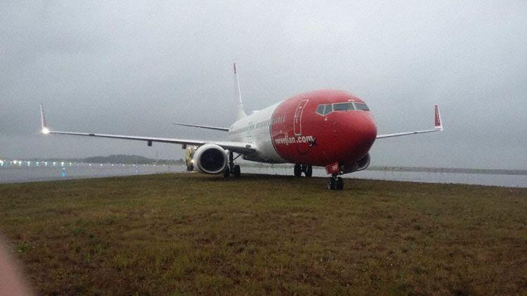 Norwegians Boeing 737-800 kørte af landingsbanen i Helsinki i juli sidste år. Foto: Den finske havarikommission, AIBF