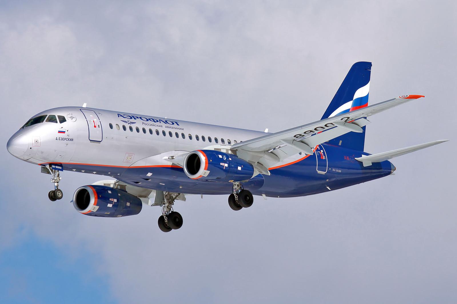 En Sukhoi Superjet 100 fra det russiske flyselskab Aeroflot. Foto: Dmitry Zherdin