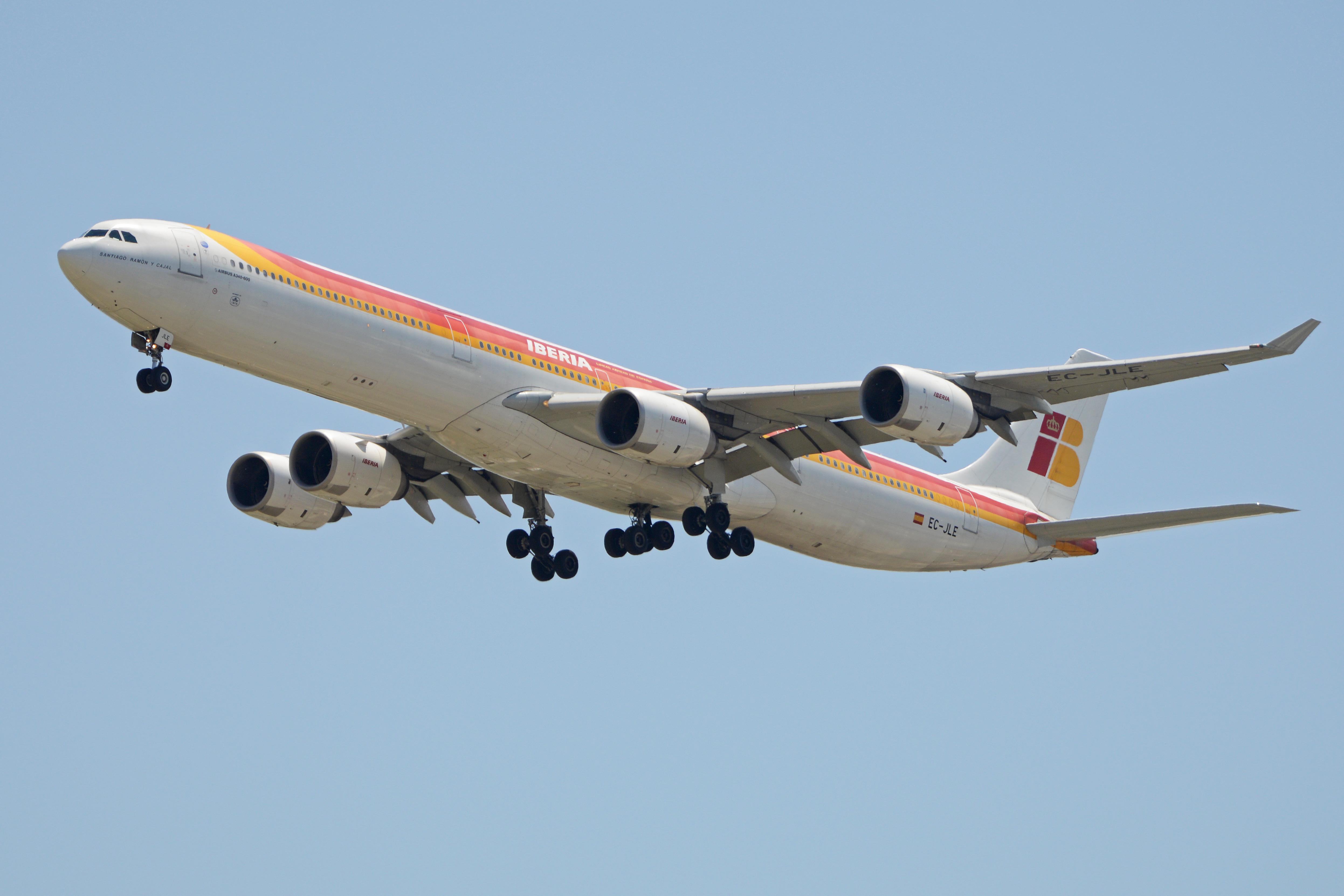 En Airbus A340-600 fra det spanske flyselskab Iberia. Foto: Alan Wilson