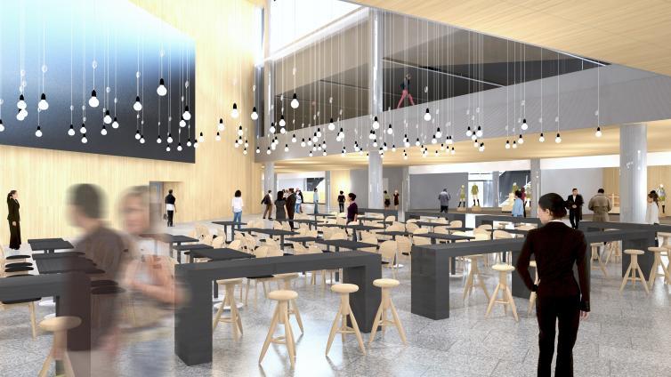 En illustration af det kommende, nye torv, Plaza, i Terminal 2 i Helsinki Lufthavn. Foto: Helsinki Lufthavn