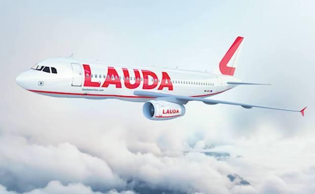 Illustration af den nye bemaling på Laudamotions A320-fly.
