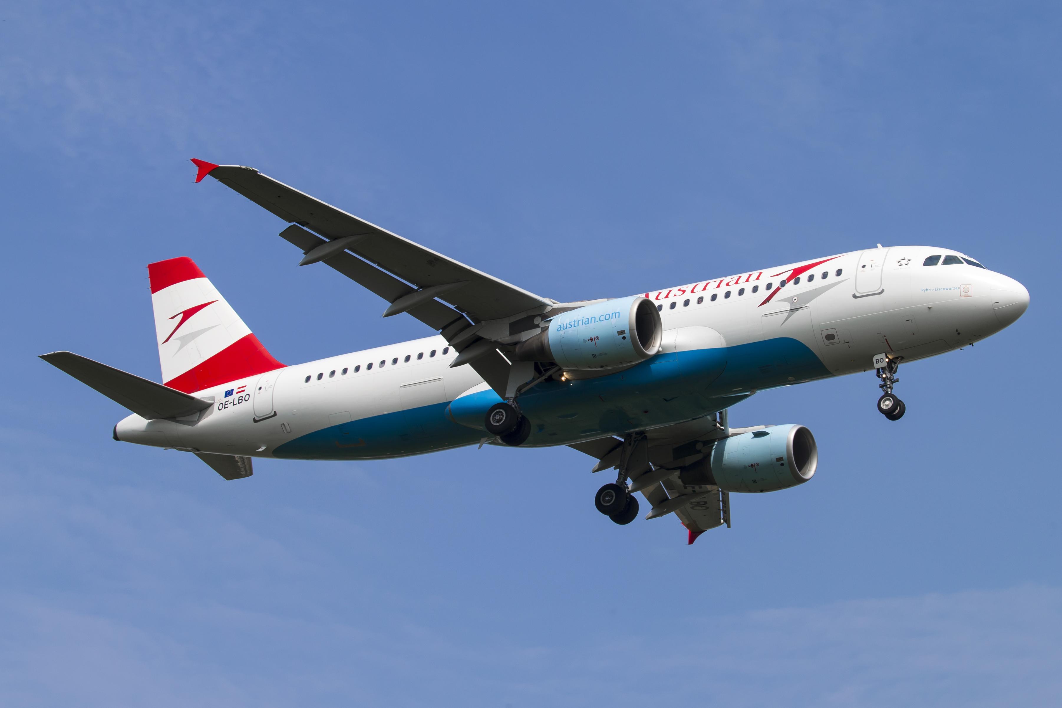 En Airbus A320 fra Austrian Airlines. Foto: © Thorbjørn Brunander Sund, danishaviationphoto.com