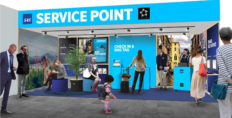 En illustration af SAS Service Point i Östersund Lufthavn. Foto: SAS