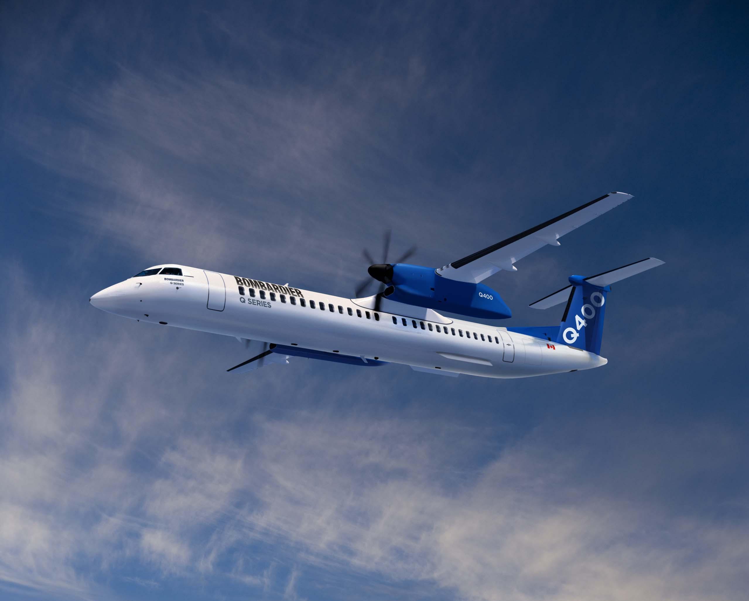 En illustration af Bombardiers kommende Q400-fly med 90 sæder. Foto: Bombardier