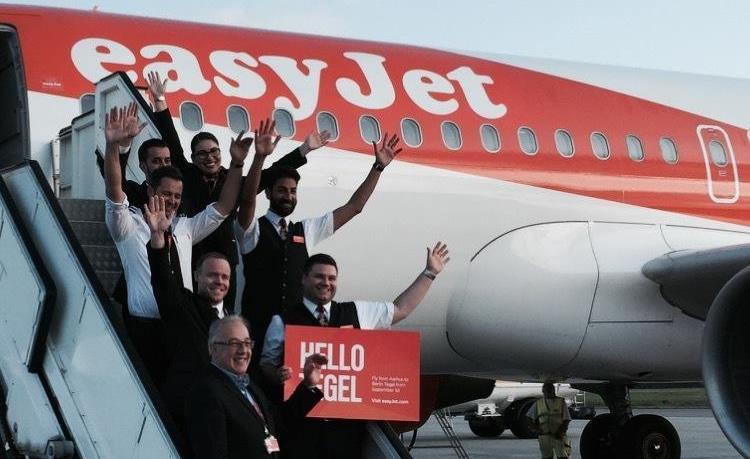 EasyJet ved første ankomst i Aarhus Lufthavn. (Foto: AAR)