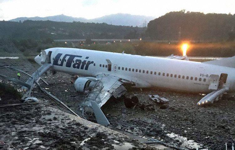 Boeing 737-800 fra UTair efter den mislykkede landing i Sochi International Airport (Foto: Southern Transport Prosecution Office)