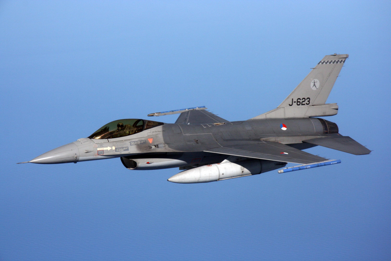 Et F16-jagerfly fra det hollandske luftvåben. Foto: Det hollandske luftvåben