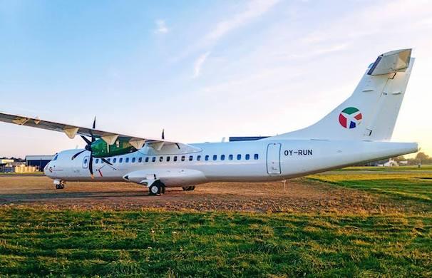 DAT's nye ATR72-600 fly i Københavns Lufthavn. (Foto: DAT)