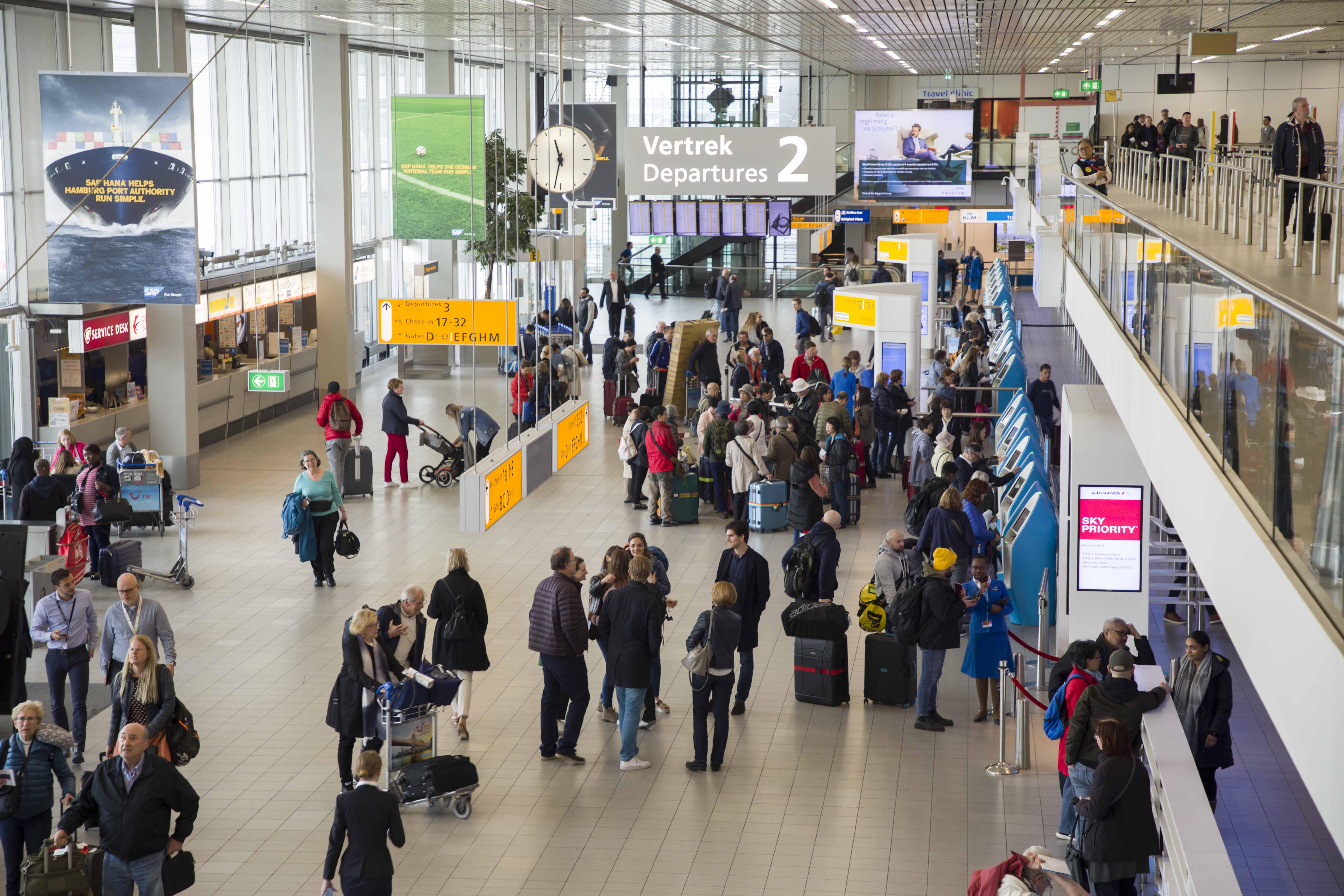 Amsterdam Schiphol har succes med ny teknologi til at overvåge passagermængderne i lufthavnen. Foto: Amsterdam Schiphol