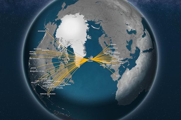 Kort over Icelandairs rutenetværk.