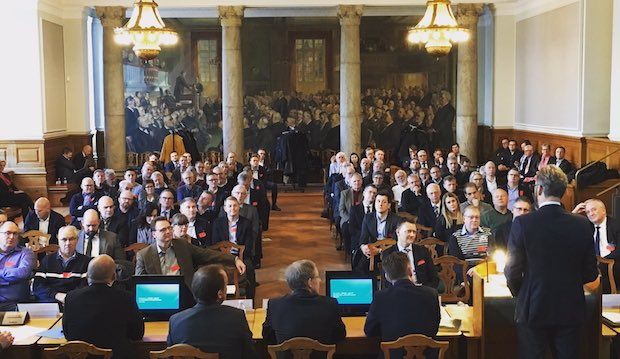 Transportminister Ole Birk Olesen var blandt oplægsholderne på konferencen i 2018. (Foto fra Twitter)