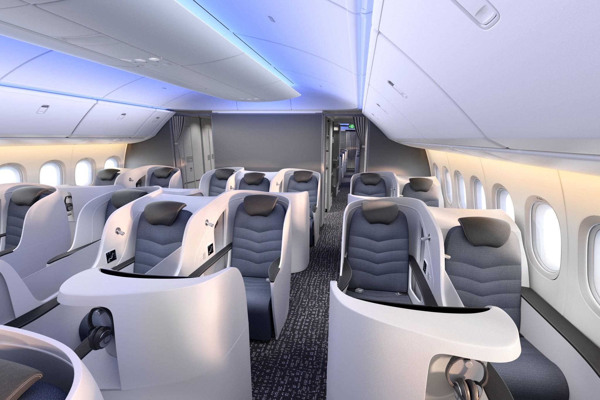 Et muligt udseende af business class i Boeings nye 777X-versioner. Bemærk Boeings forslag til en 2-3-2-konfiguration. Foto: Boeing