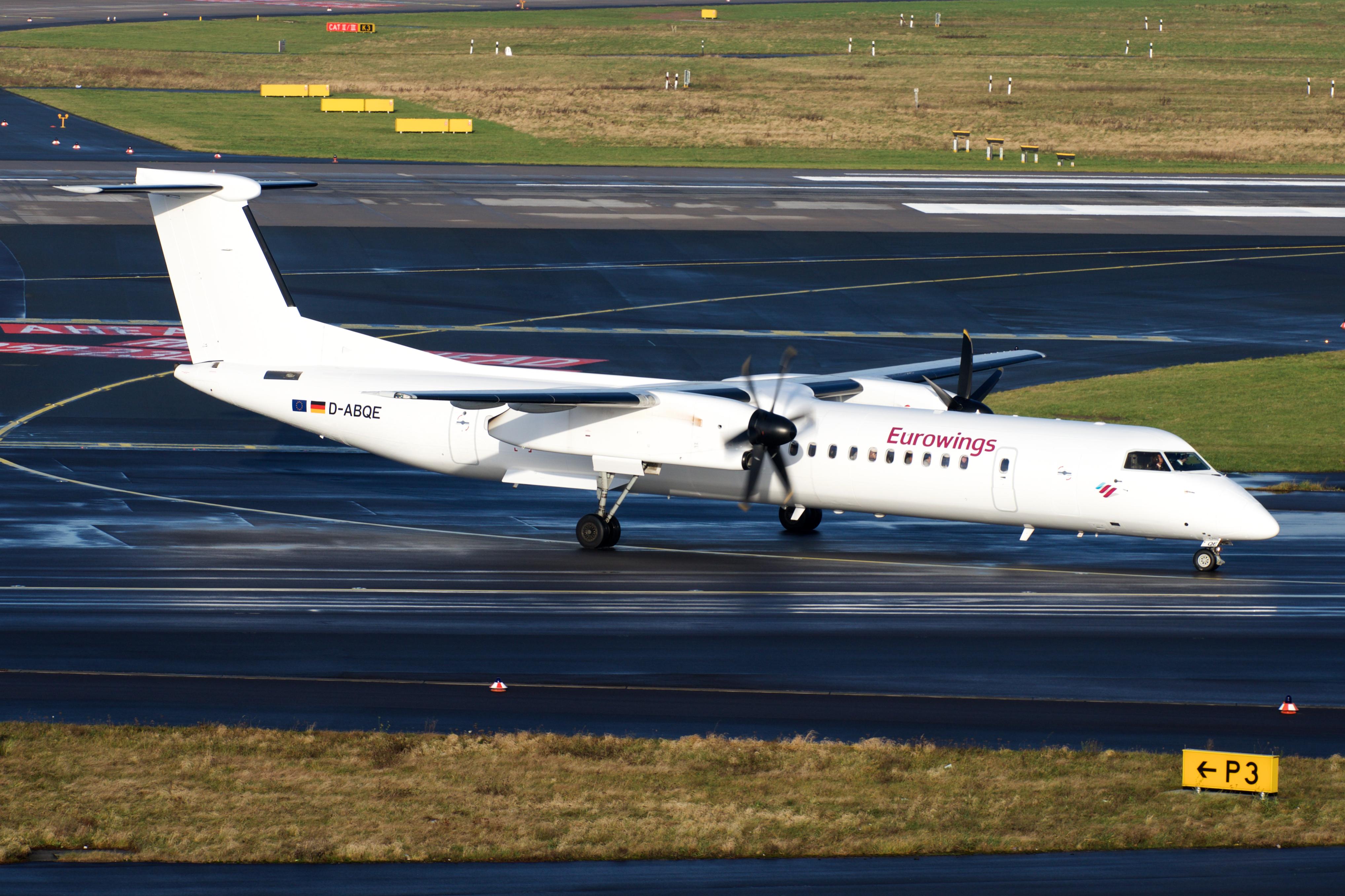 En Bombardier Dash 8-Q400 fra Lufthansa-datterselskabet LGW, der opererer for Eurowings. Foto: BriYYZ