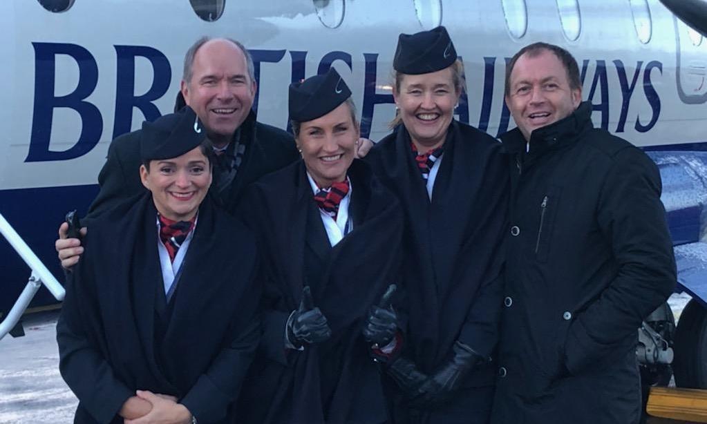 Fra ruteåbningen i Friedrichshafen. Fra venstre, Betül Wallenfels , Claus-Dieter Wehr, CEO i Bodensee-Airport, Karina Hornshøj, Jette Nørskov og Kristian Tvergaard, kommerciel direktør i Sun-Air. (Foto: Trine Dige)