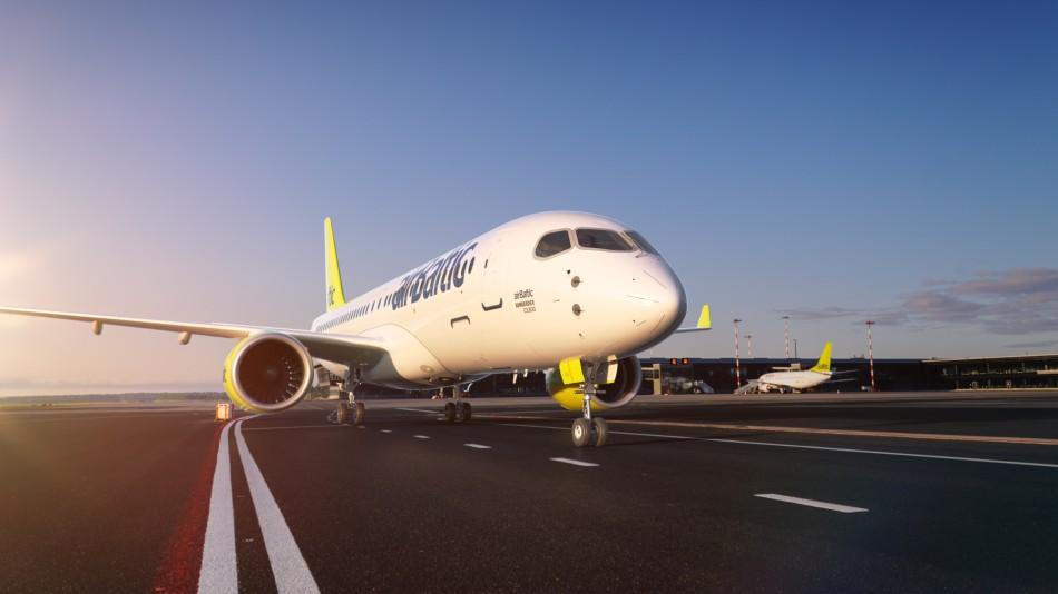 En Airbus A220-300 fra det lettiske flyselskab airBaltic. (Foto: airBaltic)