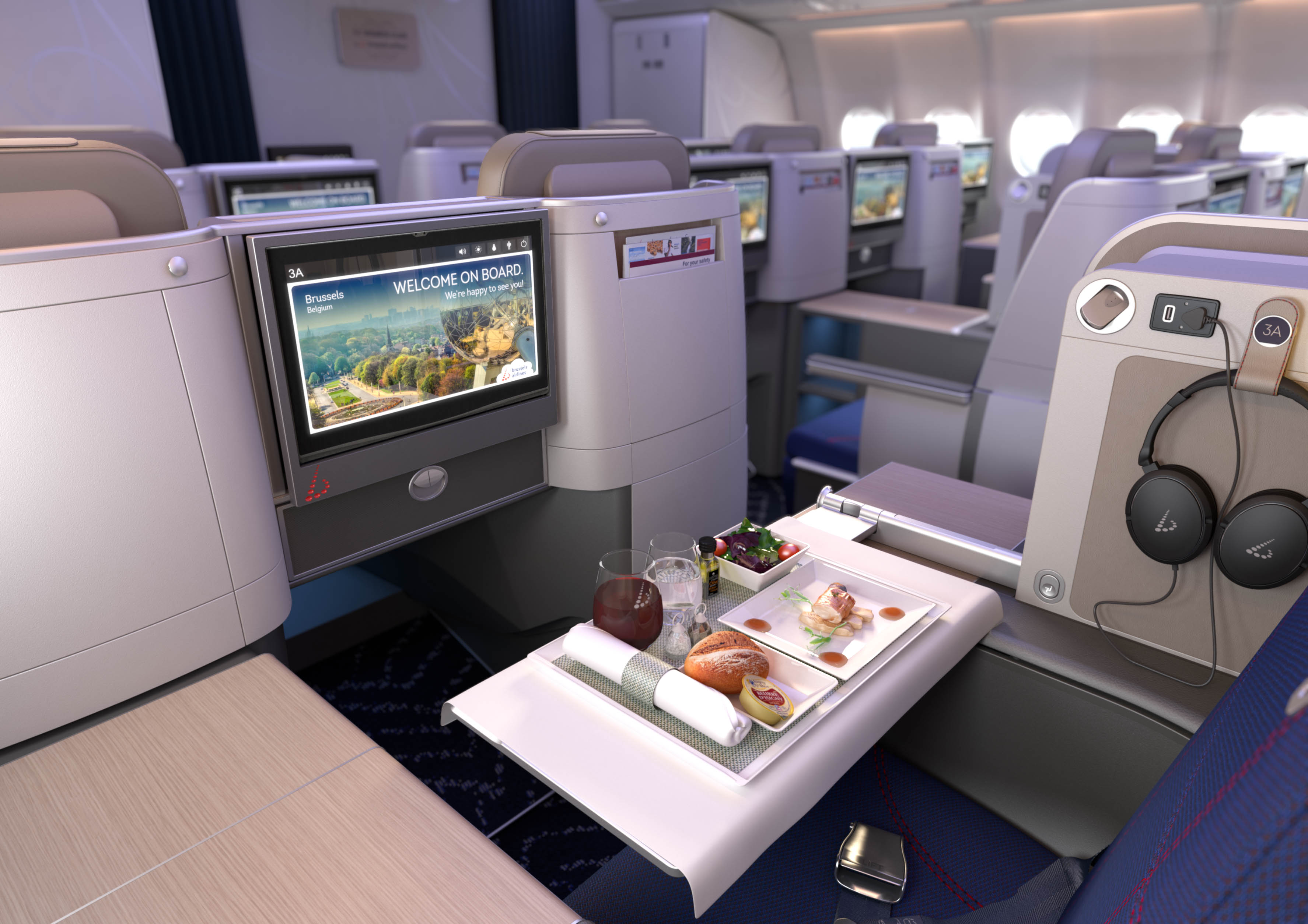 Business Class-kabinen i de nyindrettede Airbus A330-fly hos Brussels Airlines. Foto: Brussels Airlines