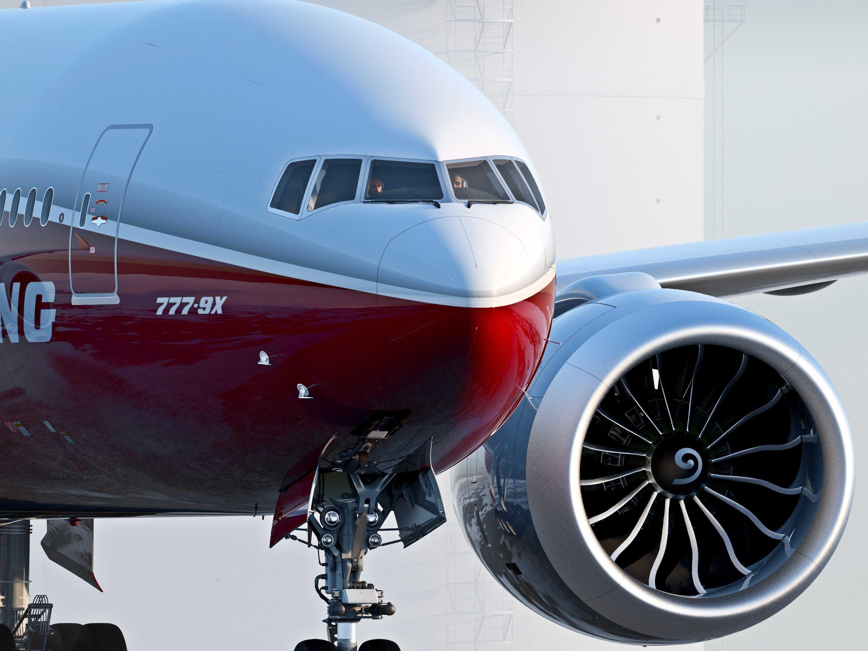 Den nye Boeing 777X i den amerikanske flyproducents fabriksfarver. Foto: Boeing