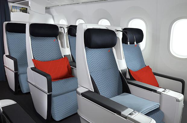 Premium Economy-kabine hos Air France, som er KLM's søsterselskab.