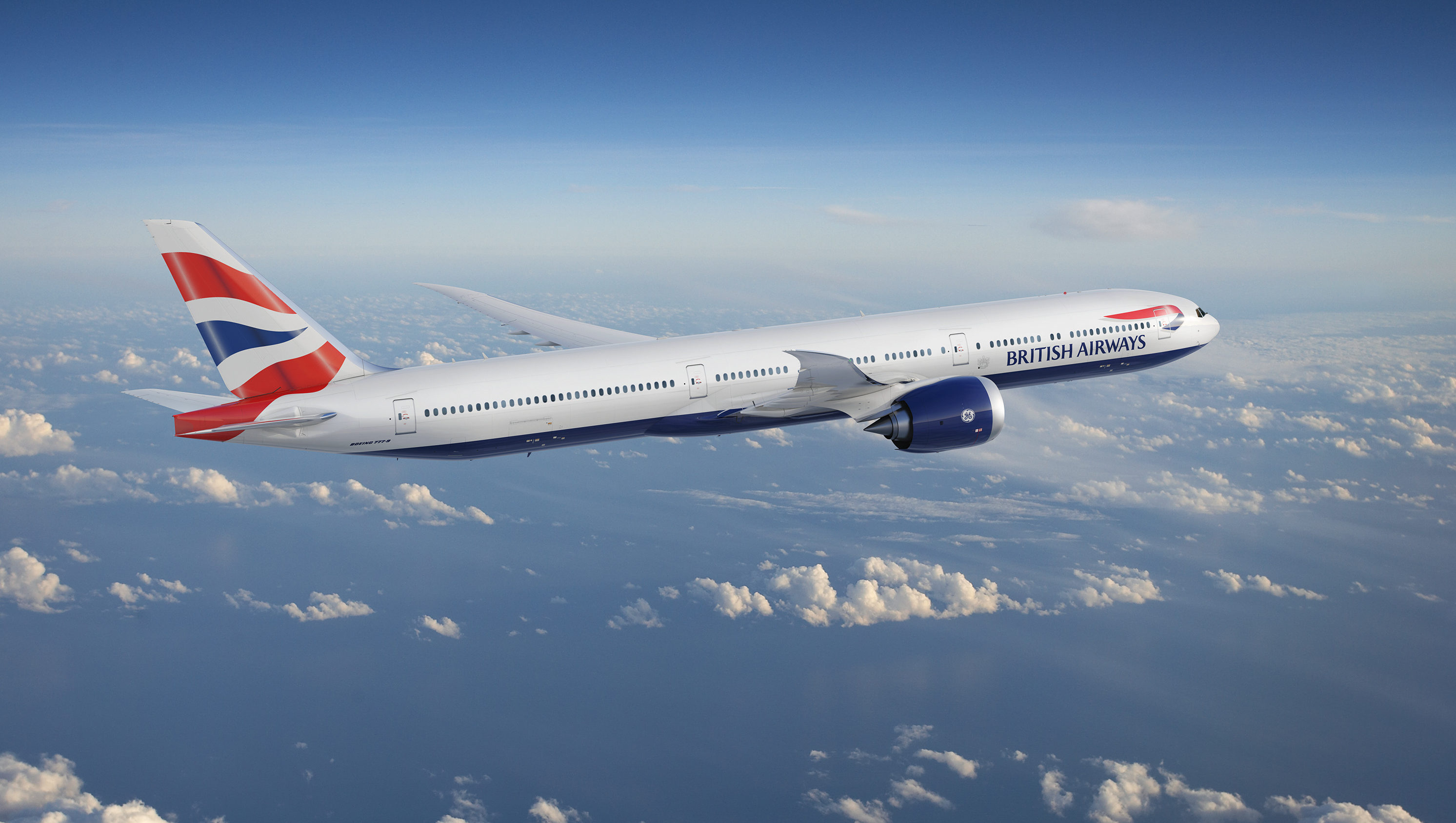 Model af den nye Boeing 777-9 til British Airways. Illustration: Boeing