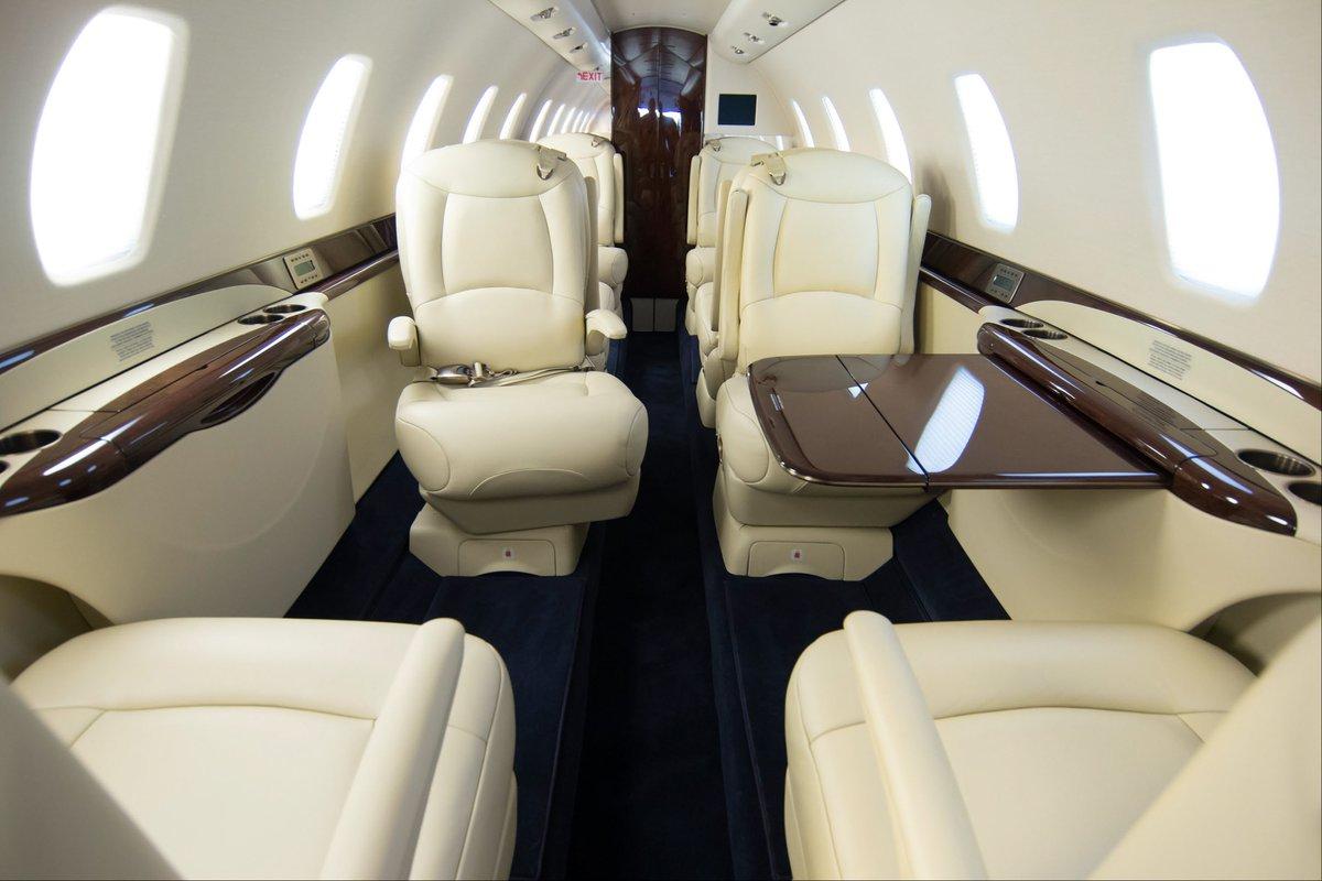 Den luksuriøse kabine i Cessna Citation Sovereign fra Hahn Air Lines. Foto: Hahn Air Lines