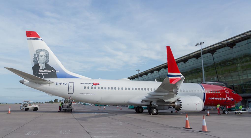 Boeing 737 MAX 8 fra Norweigan ved første afgang fra Cork Airport. (Arkivfoto: Cork Airport)