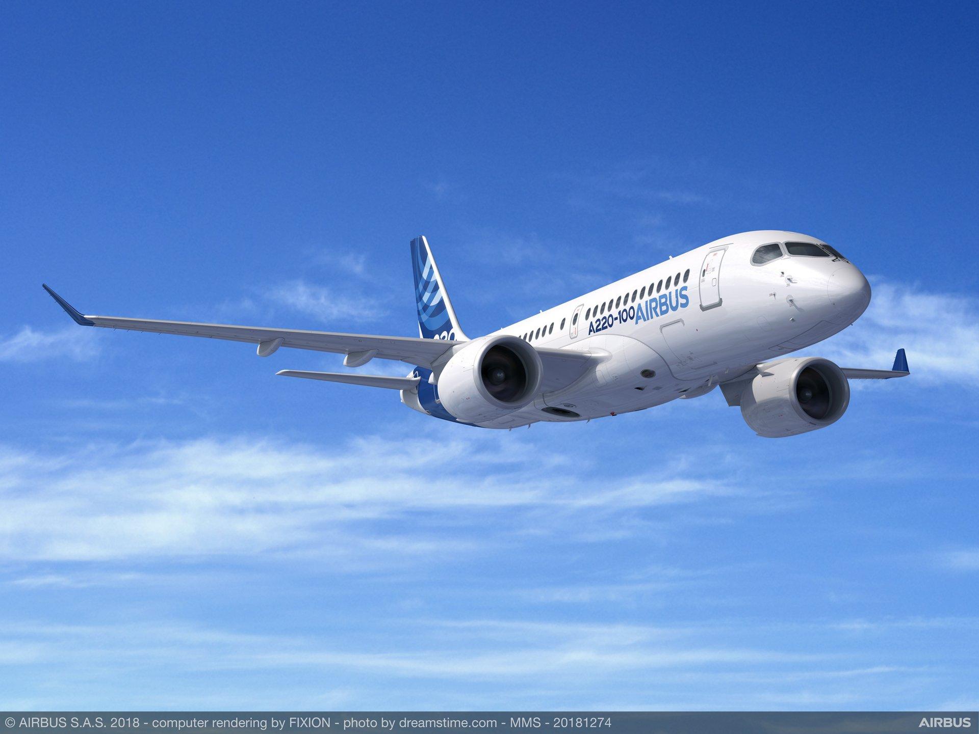 Model af en Airbus A220-100. Foto: Airbus