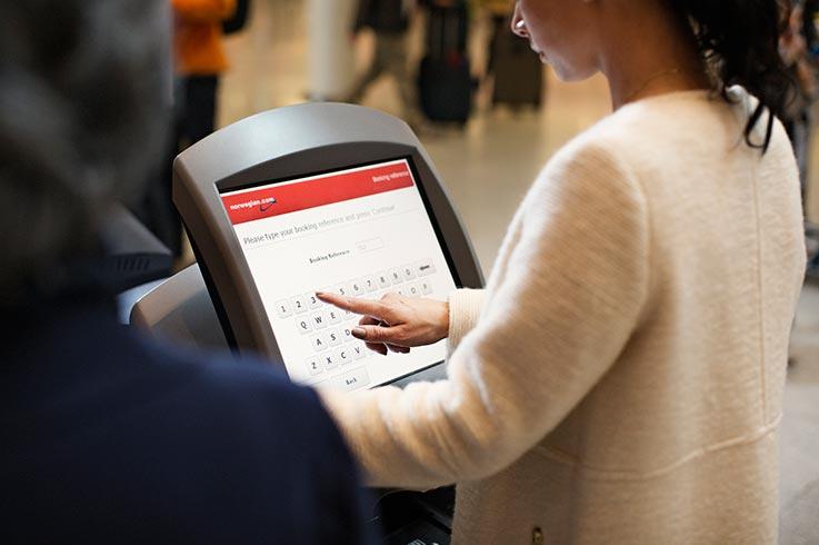 Norwegian airport check-in. (Foto: Norwegian/PR)