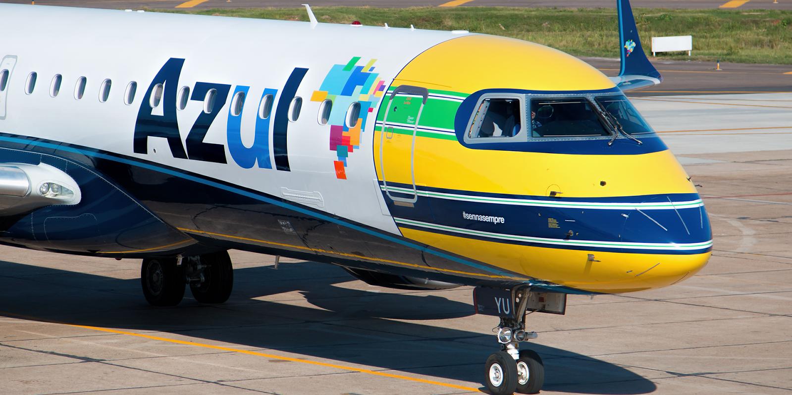 Embraer ERJ-195AR fra Azul, i den særlige Ayrton Senna-bemaling, er leaset af Great Dane Airlines.