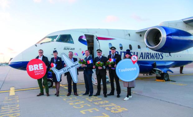 Dornier 328JET-flyet i forbindelse med Sun-Airs åbning tirsdag af den nye rute mellem Bremen og Toulouse. Foto: Sun-Air