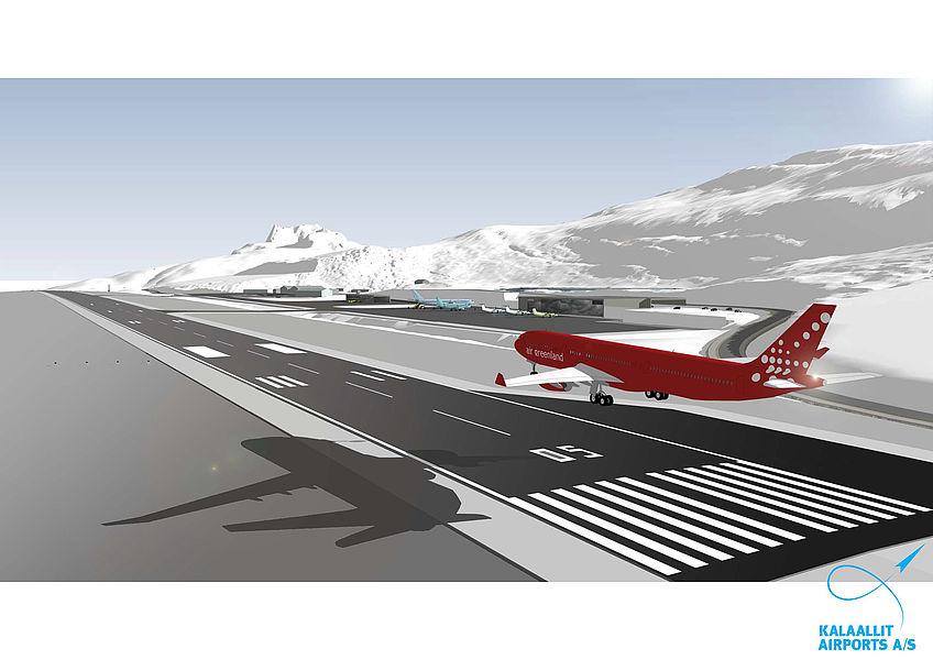 Visualisering af den nye internationale lufthavn i Nuuk. Foto: Kalaallit Airports