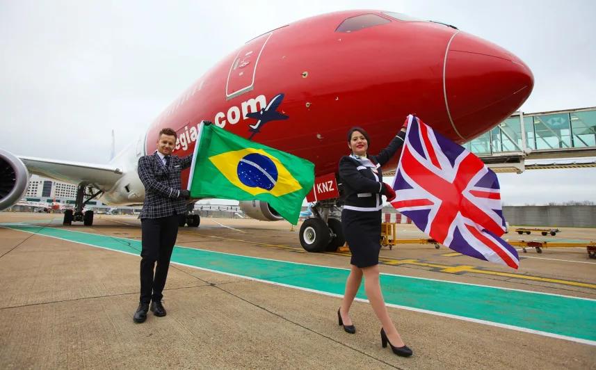 Første Norwegian-flyvning fra London til Rio de Janeiro (Foto: Norwegian/PR)