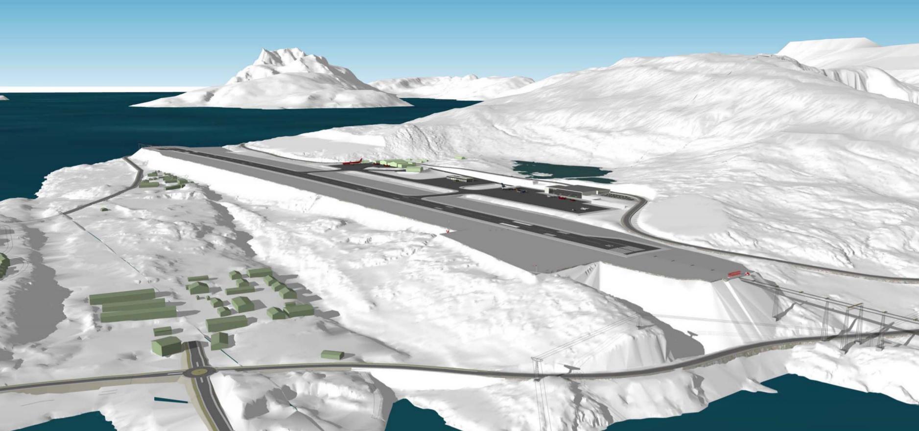 Visualisering af Nuuk Airport (Grafik: Kalaallit Airports A/S)