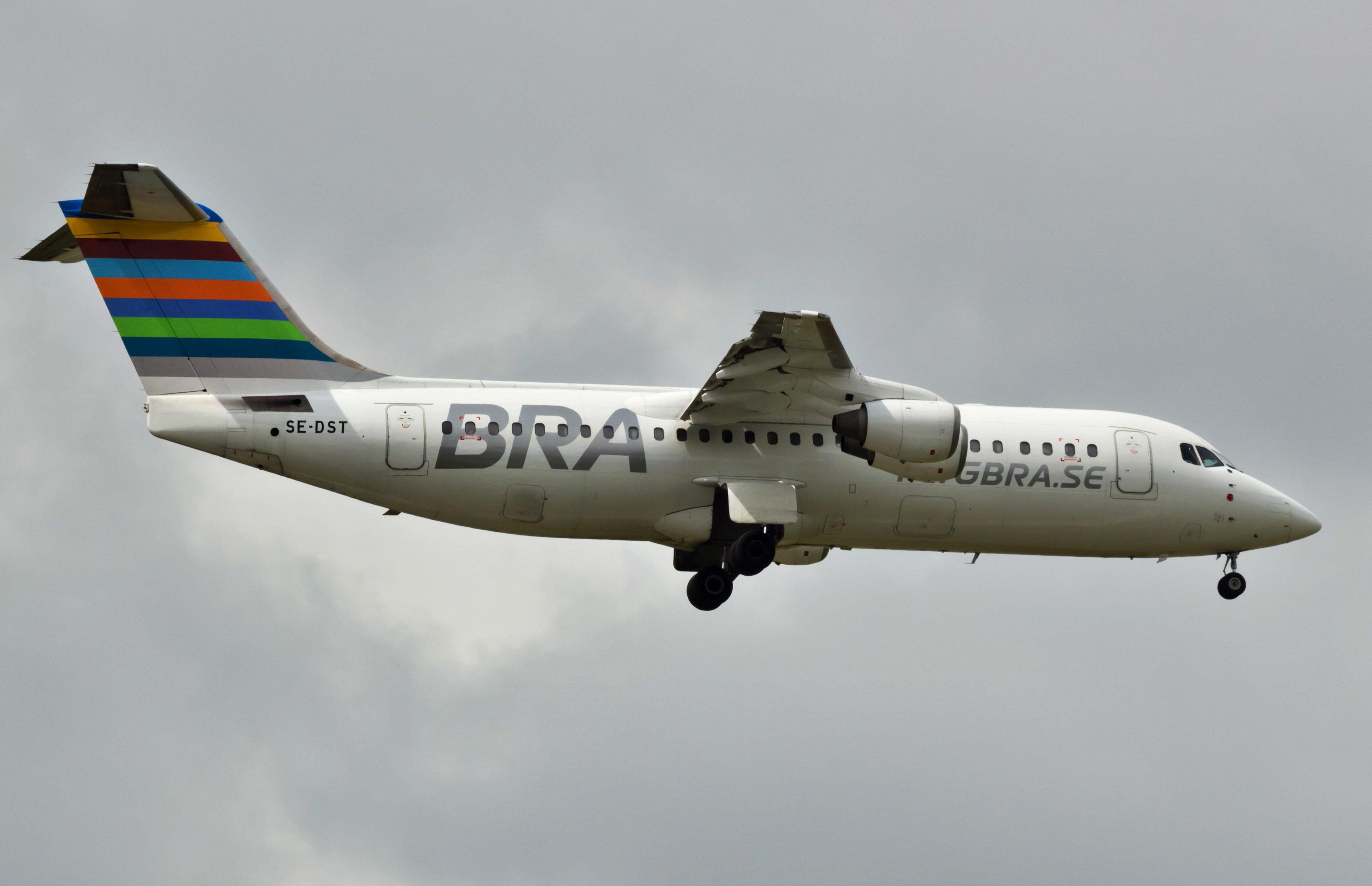 En Avro RJ 100 fra det svenske flyselskab BRA. Foto: Bene Riobó