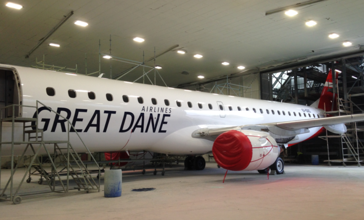Første Embraer ERK-195LR til Great Dane Airlines. (Foto: GDA/PR)