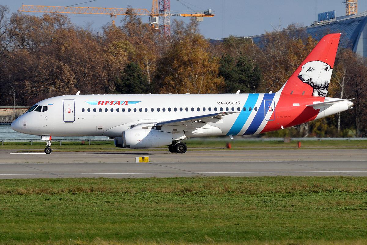 En Sukhoi Superjet 100 fra det regionale russiske flyselskab Yamal Airlines. Foto: Anna Zvereva