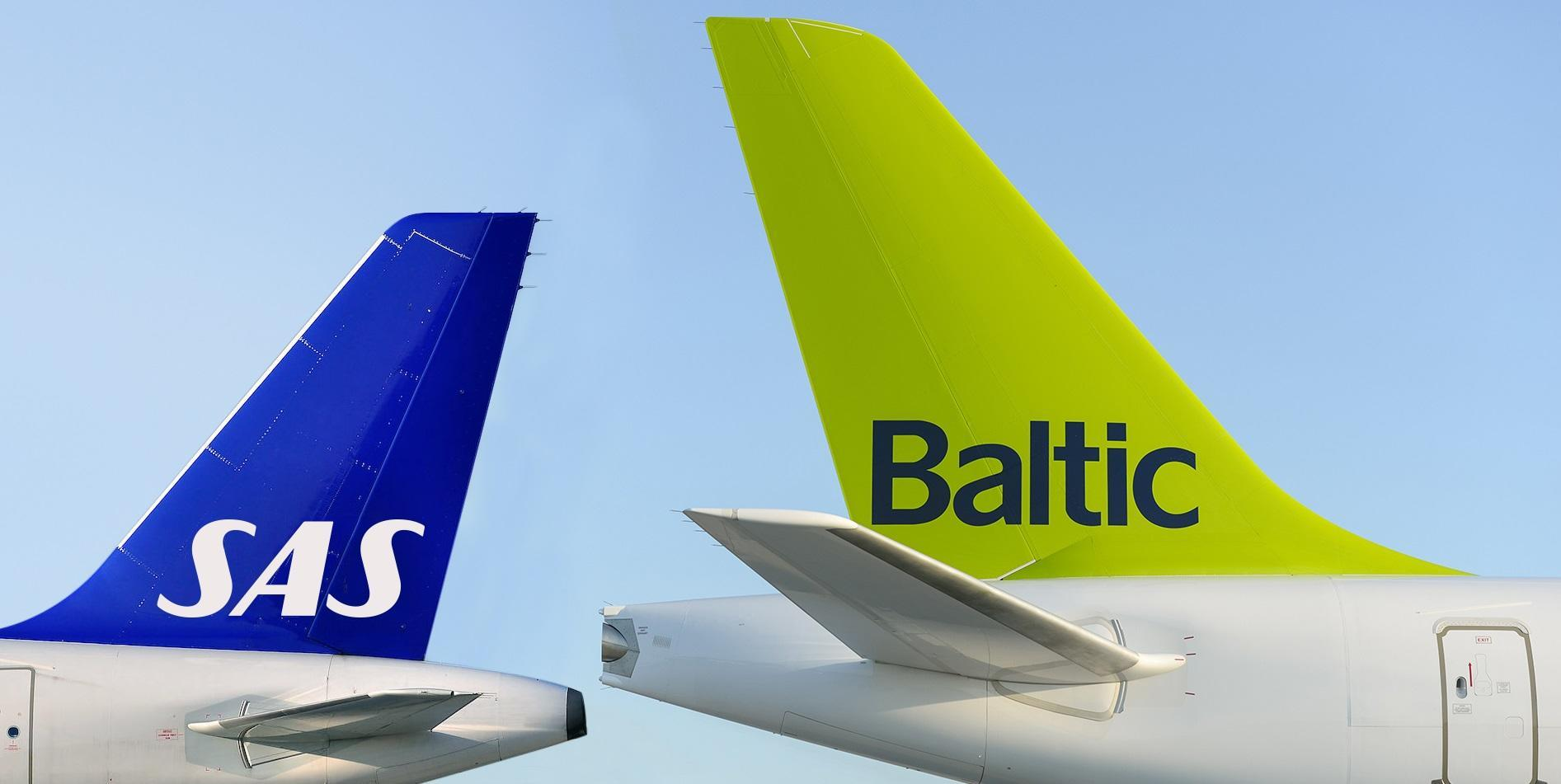 Flyhaler fra SAS og airBaltic. (Foto: airBaltic/PR)