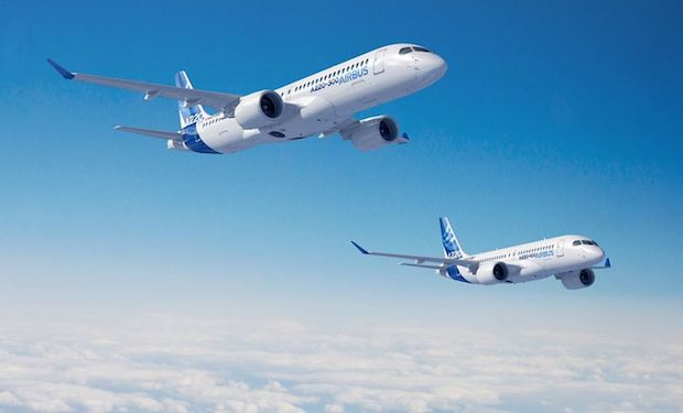 De to versioner af Airbus A220. Illustration: Airbus