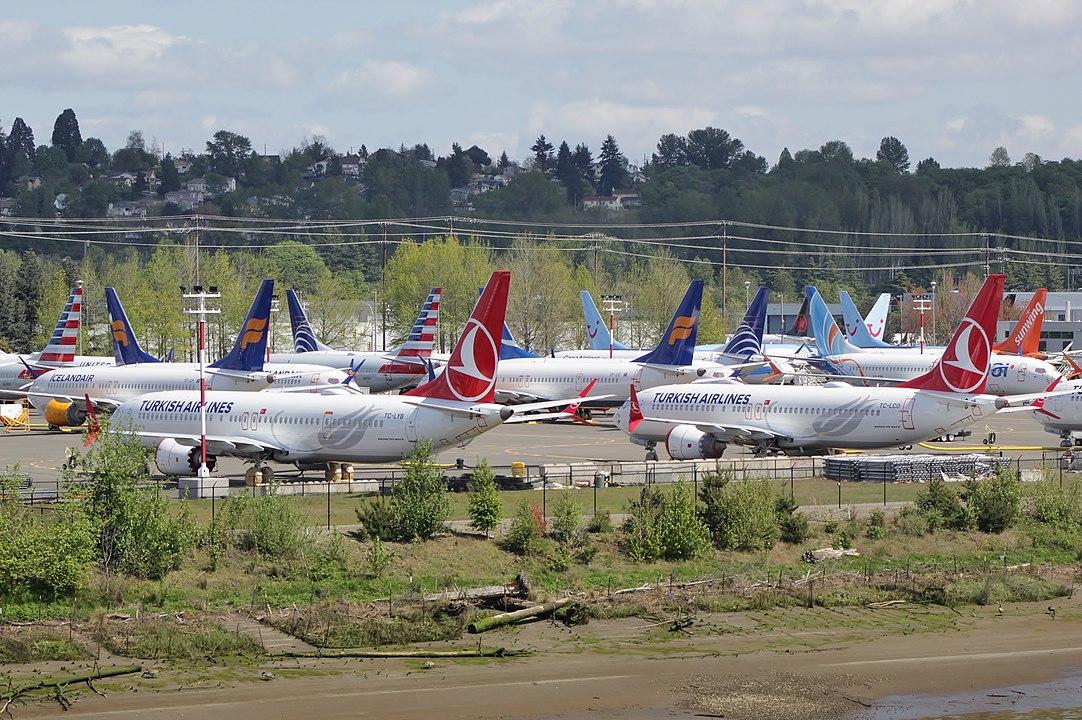 Nyproducerede Boeing 737 MAX parkeret hos den amerikanske flyproducent. (Foto: SounderBruce | CC 4.0)