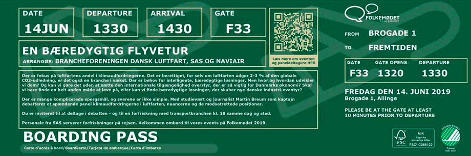 Dansk Luftfart, SAS og Naviairs invitation til debat på Folkemødet (skærmdump)