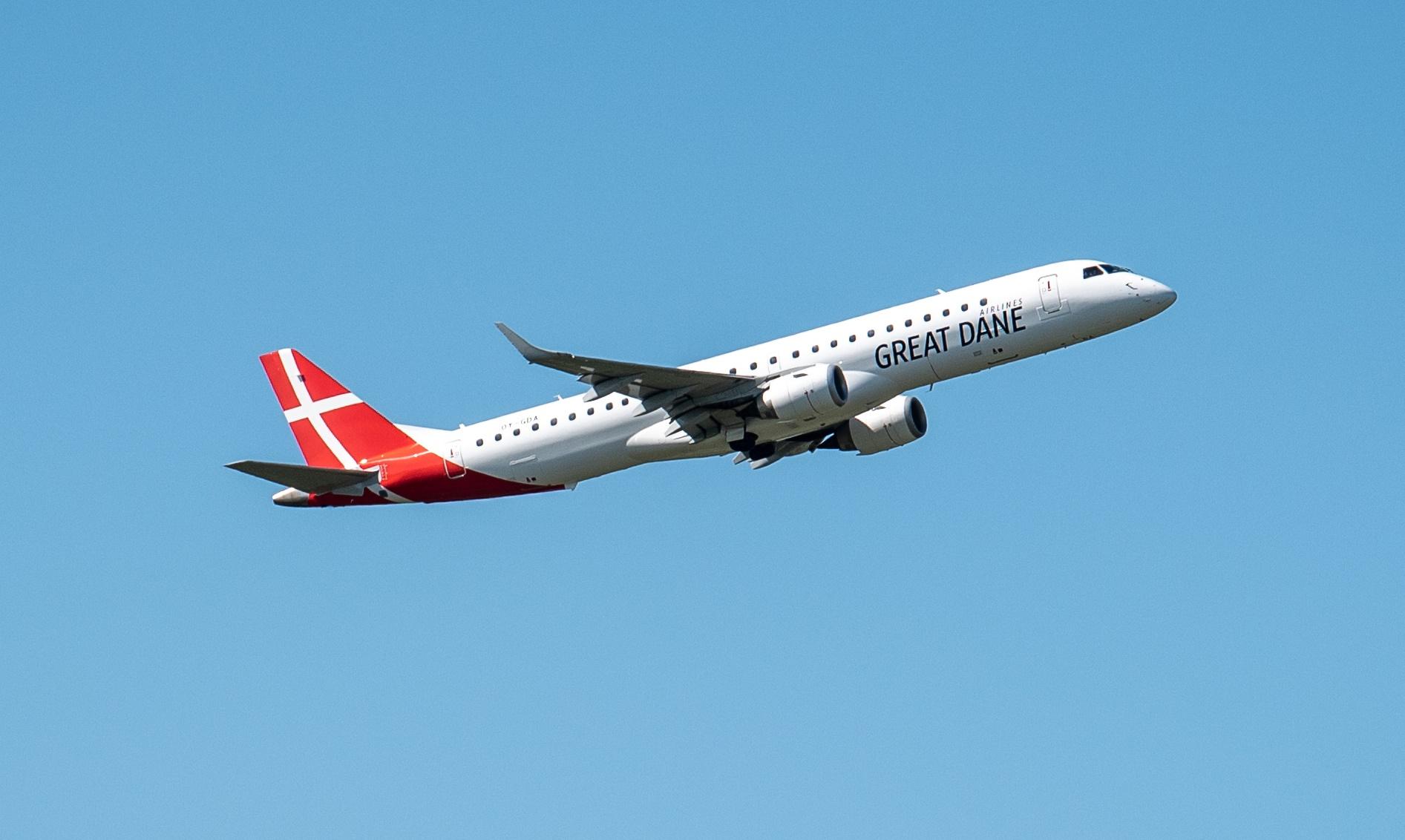 Embraer ERJ-195LR fra Great Dane Airlines (Foto: Anders Torp)