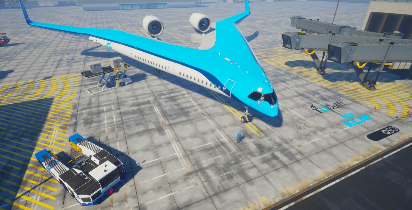 Det flyvende V. Fremtidens fly ifølge KLM og TU Delft (Illustration: Edwin Wallet, Studio OSO)
