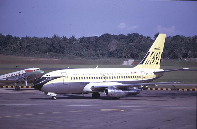 En Boeing 737-200 fra MSA i Singapore International Airport i 1969. Foto: Wikimedia Commons
