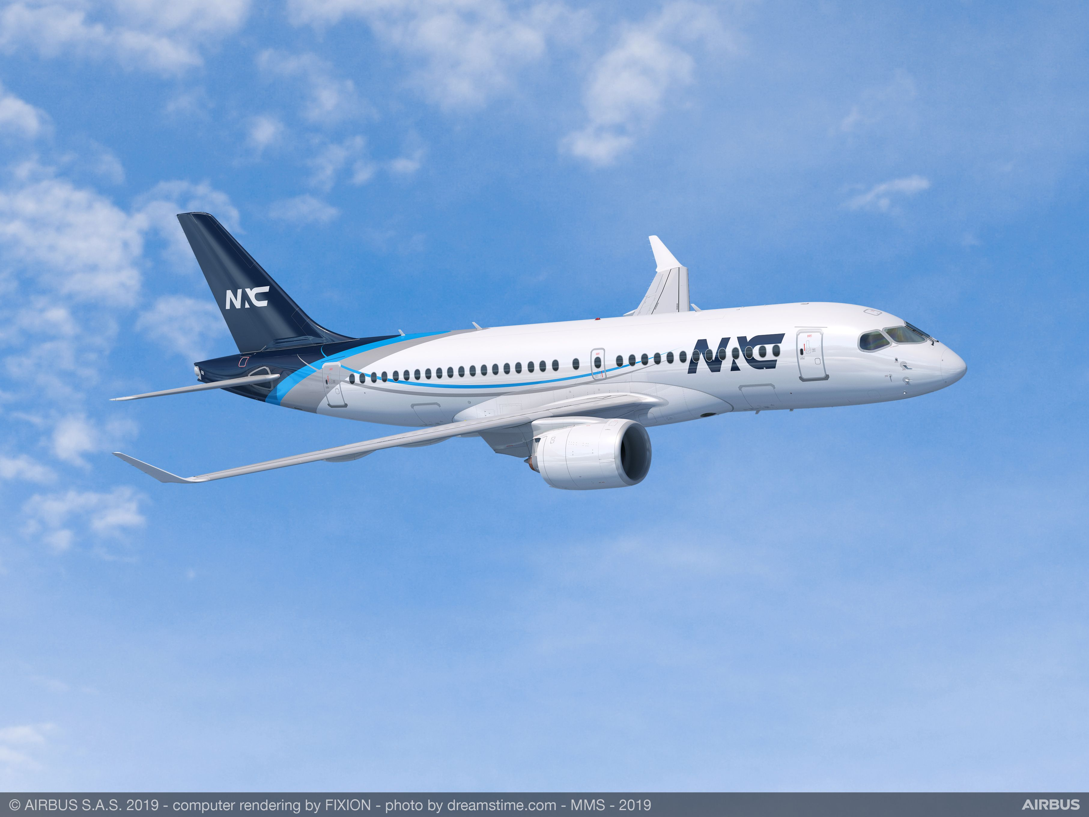 Airbus A220-100 i Nordic Aviation Capital farver (Illustration: Airbus)